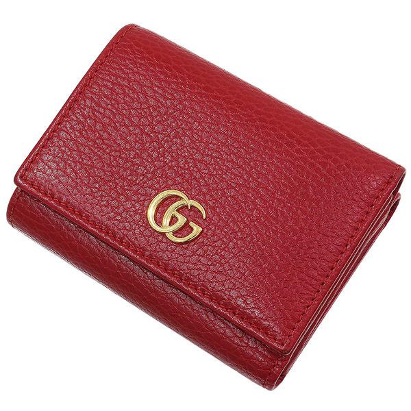 (グッチ)GUCCI プチマーモント デザイン レザー 三つ折り財布 箱袋【中古】