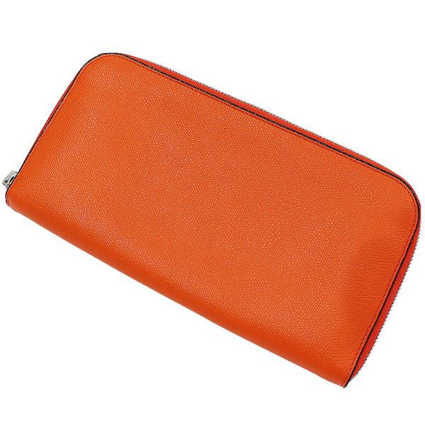 (ヴァレクストラ)Valextra シンプル レザー クラッチ トラベルバッグ 橙 袋【中古】