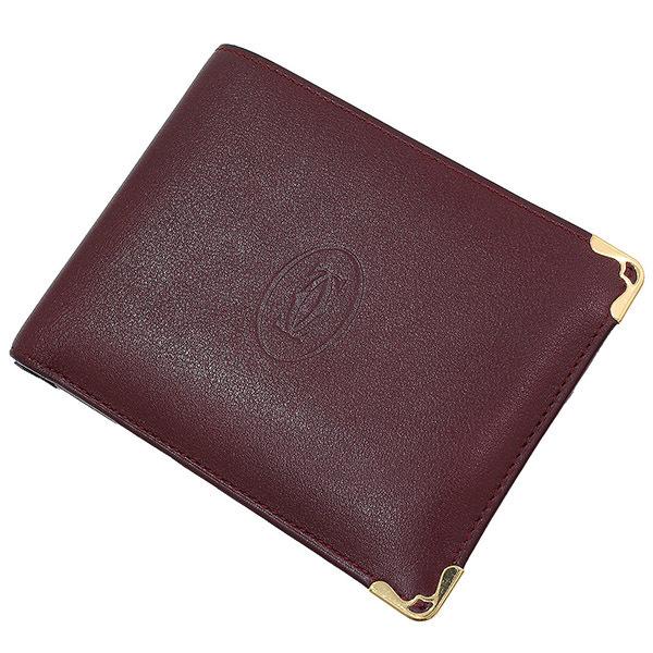 (カルティエ)Cartier マスト レザー 二つ折り財布 ボルドー 箱袋【中古】