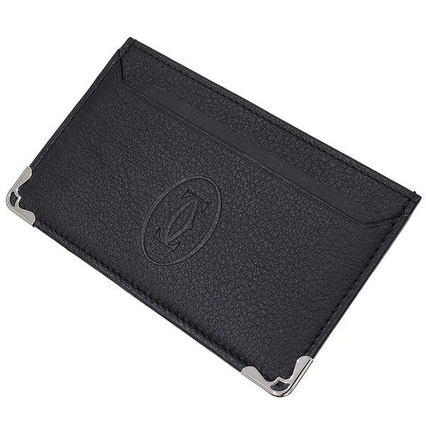 (カルティエ)Cartier マスト レザー カードケース 黒 箱袋ギャラ【中古】
