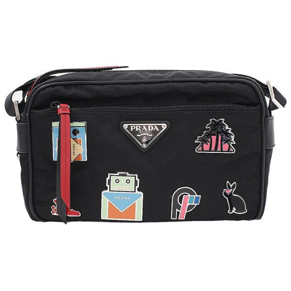 45fc8b288903 Prada TESSUTO nylon metal applique shoulder bag black guarantee ...