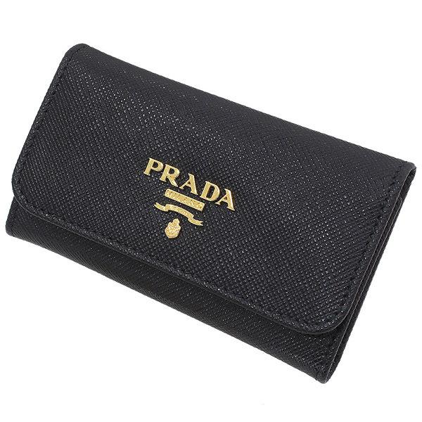 (プラダ)PRADA サフィアーノレザー 6連キーケース 黒 箱ギャラ【中古】