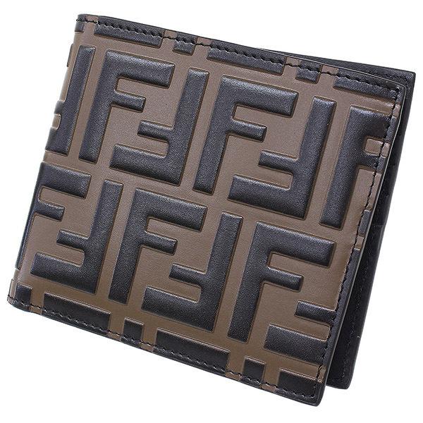 【エントリーでポイント10倍!4月28日1:59まで】(フェンディ)FENDI ロゴ デザイン レザー 二つ折り 財布 箱袋【中古】