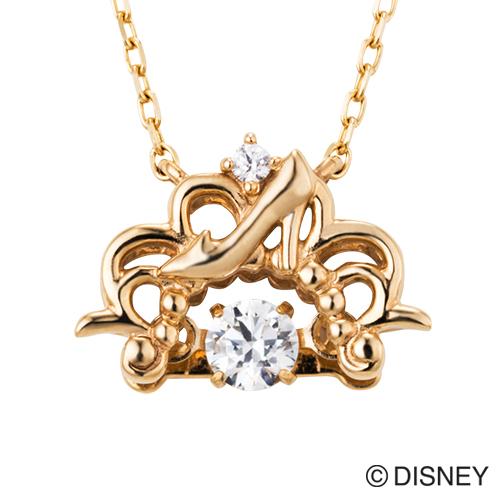 【white clover/Disney Series】ディズニー/シンデレラ/スウィングストーン ダイヤモンド K10ゴールド ネックレス/オリジナルBOX付 DISS001Y