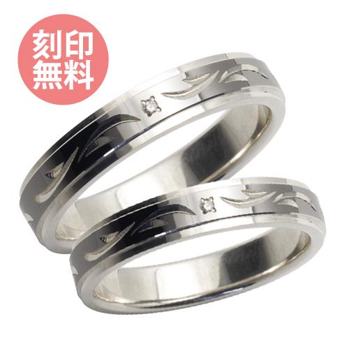 手彫り 4mm ダイヤモンド ペア リング ブラック&ブラック WSR227RT&WSR227RT white clover カップル