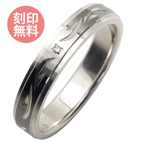 手彫り 4mm ダイヤモンド リング ブラック WSR227RT 刻印 ラッピング 送料 無料