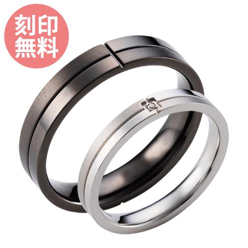 7~19号 ペアリング 刻印無料 サージカルステンレス316L アレルギーフリー 指輪 ダイヤモンド クロス 4SUR030SV&4SUR031GU