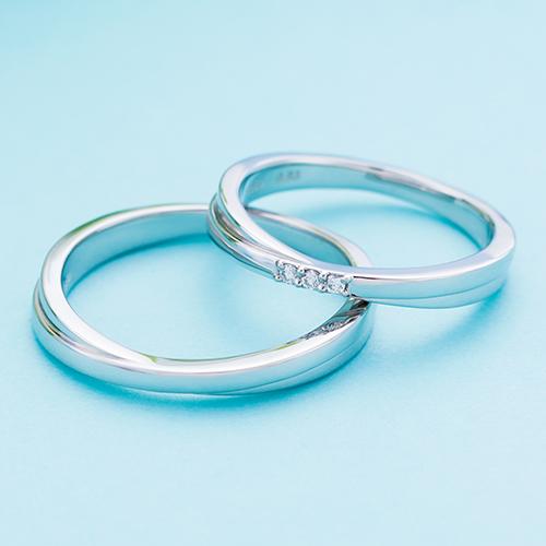 結婚指輪 マリッジリング 3~21号 プラチナ950 Pt950 ダイヤモンド 0.03ct クロスデザイン ペアリング WPR244&WPR245