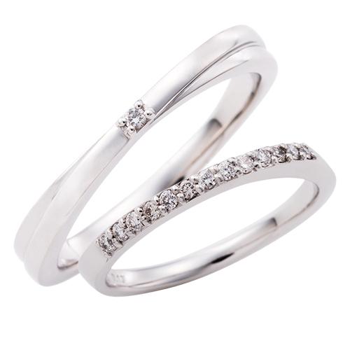 結婚指輪 マリッジリング 3~21号 プラチナ950 Pt950 ダイヤモンド 0.13ct 0.01ct クロスデザイン エタニティ ペアリング WPR258&WPR259