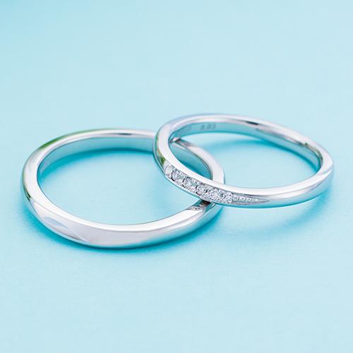 結婚指輪 マリッジリング 3~21号 プラチナ950 Pt950 ダイヤモンド 0.03ct ウェーブ カーブデザイン ペアリング WPR550&WPR551