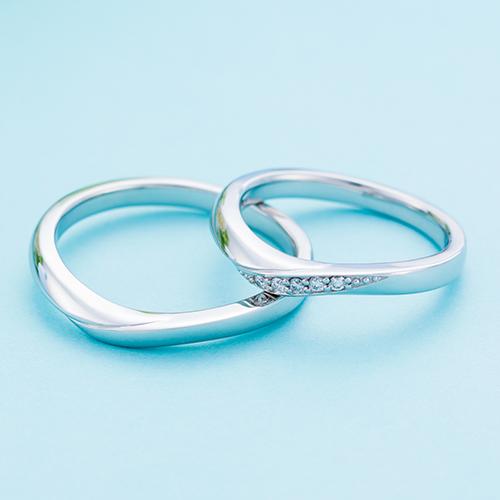 結婚指輪 マリッジリング 3~21号 プラチナ950 Pt950 ダイヤモンド 0.05ct V字ライン デザイン ペアリング WPR600&WPR601 white clover カップル