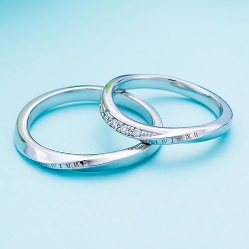 結婚指輪 マリッジリング 3~21号 プラチナ950 Pt950 ダイヤモンド 0.05ct 円周率 ローマ数字 デザイン ペアリング WPR602&WPR603 white clover カップル
