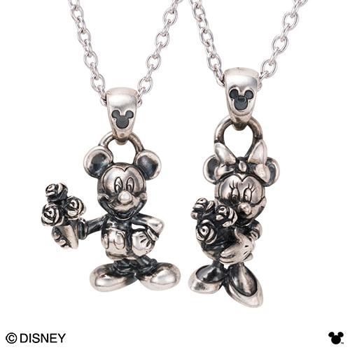 【Disney Series】ディズニー/ミッキー&ミニー/いぶし加工 フラワー 花束 立体デザイン ペアネックレス シルバー&シルバー DI003L&DI003M white clover カップル