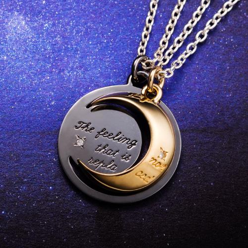 ペアネックレス「変わらない気持ち」月 メッセージ ダイヤモンド ムーン シルバー925 ゴールド&ブラック WSPD153GP&WSPD154RT