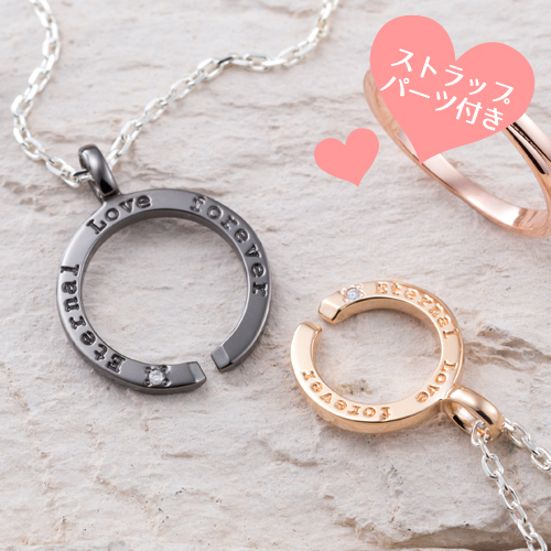 ペアネックレス ストラップパーツ付き 永遠の愛 メッセージ ダイヤモンド シルバー925 WSPD164