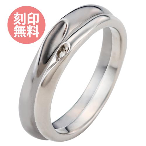 3~30号 ペアリング 指輪 セミオーダーメイド 誕生石 シェアハート サージカルステンレス316L アレルギーフリー ダイヤモンド シルバー&ブラック 4SUR102LRD&4SUR100MBK