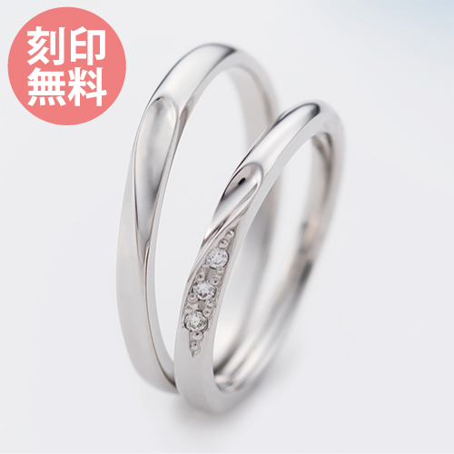 5~22号 ペアリング 刻印無料 ダイヤモンド シェアハート シルバー925 シルバー&シルバー WSR552&WSR553