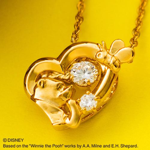 『くまのプーさん』プーさん ダンシングストーン ネックレス ディズニー Disney Winnie the Pooh シルバー925 キュービックジルコニア ハート ペンダント イエローゴールド DISS011YG