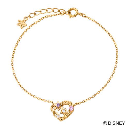 『塔の上のラプンツェル』 ラプンツェル ブレスレット ディズニー プリンセス Disney シルバー925 ハート 花 編み込み イエロー DI801YG white clover カップル