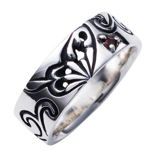 刻印無料 蝶 羽根 誕生石 シルバー925 いぶし エール レディースリング 指輪 WAW-007 送料無料 代引き手数料無料