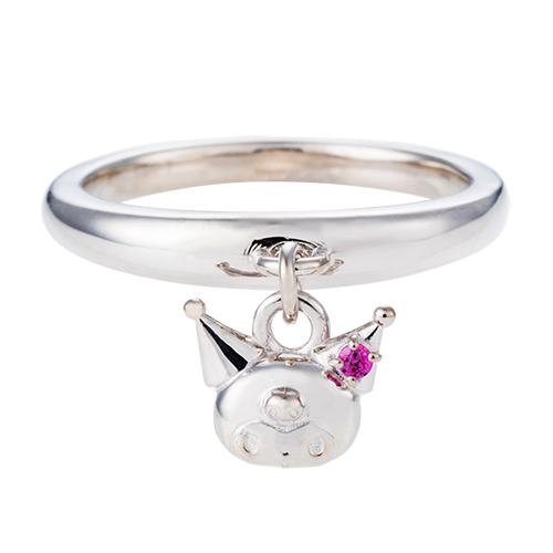 刻印無料 クロミ レディース リング 指輪 サンリオ KUROMI シルバー SAKU-R001RD white clover カップル
