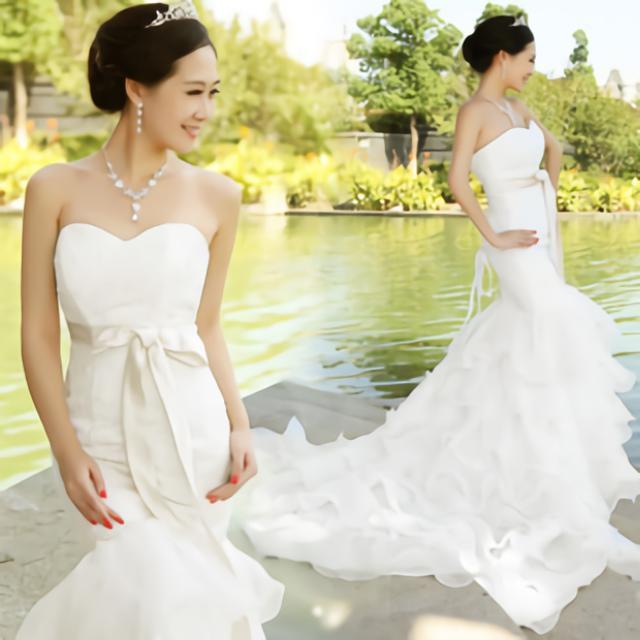 ドレス&衣装カバーのセット 【送料無料】 ウエディングドレス マーメイドライン ロングドレス ベアトップ トレーンスカート 花嫁 二次会 衣装 カラー:ホワイト 白 サイズ:S/M/L/XL