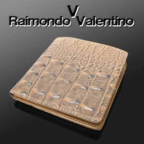 RaimondoValentino RVクロコ型押し折財布KT-301(キャメル)