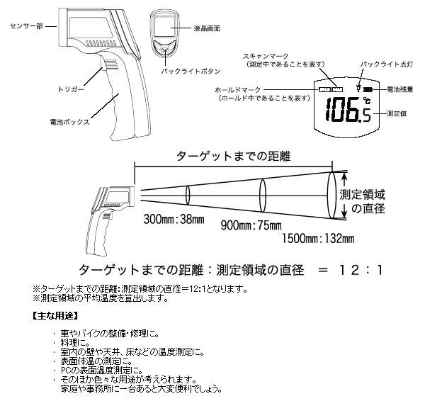 紅外綫表面温度計非接觸(GT-07)