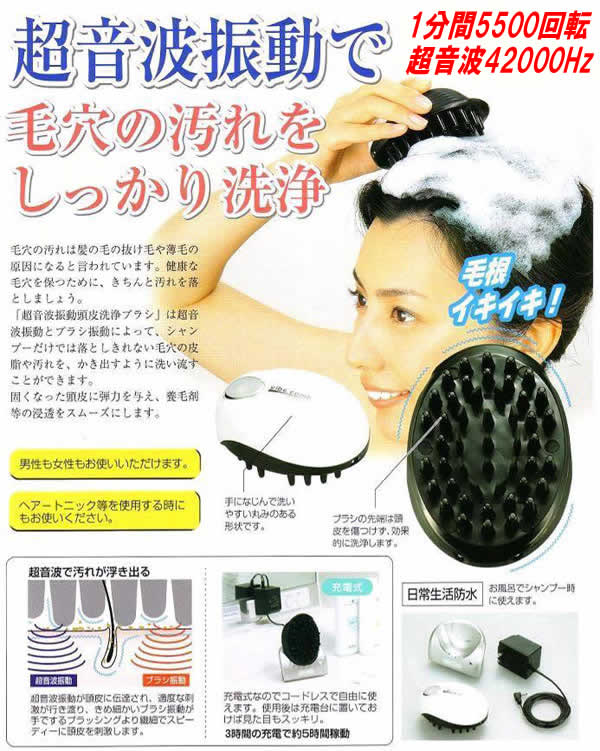 洗滌超聲波振動的頭皮的刷子