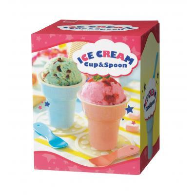 アイスクリームカップ&スプーンセット(@299円税別 60組単位 メーカー直送品 代引き不可・時間指定不可)
