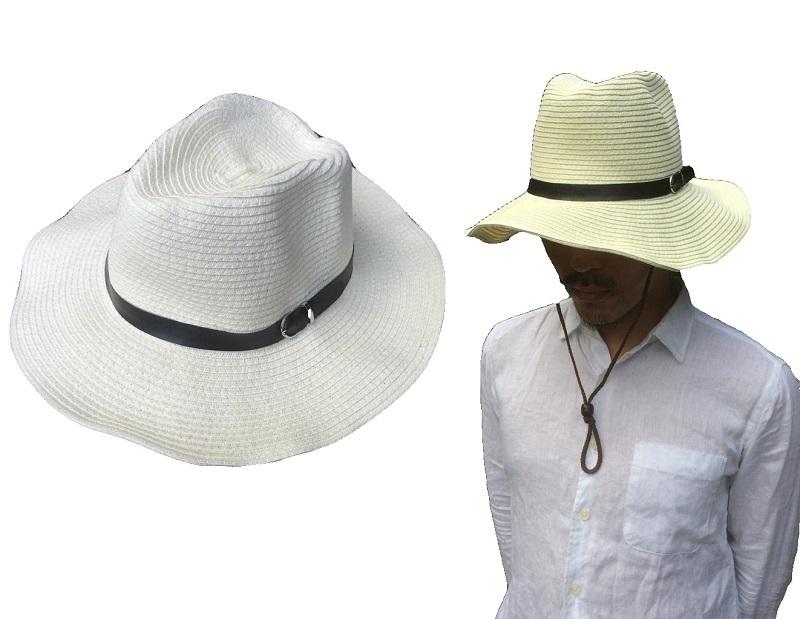 形は自由自在収納カンタン無地つば広ペーパーハット帽子ソフトワイヤー入りストローハット麦わらナチュラル紫外線帽子アウトドア日除けハット15-20