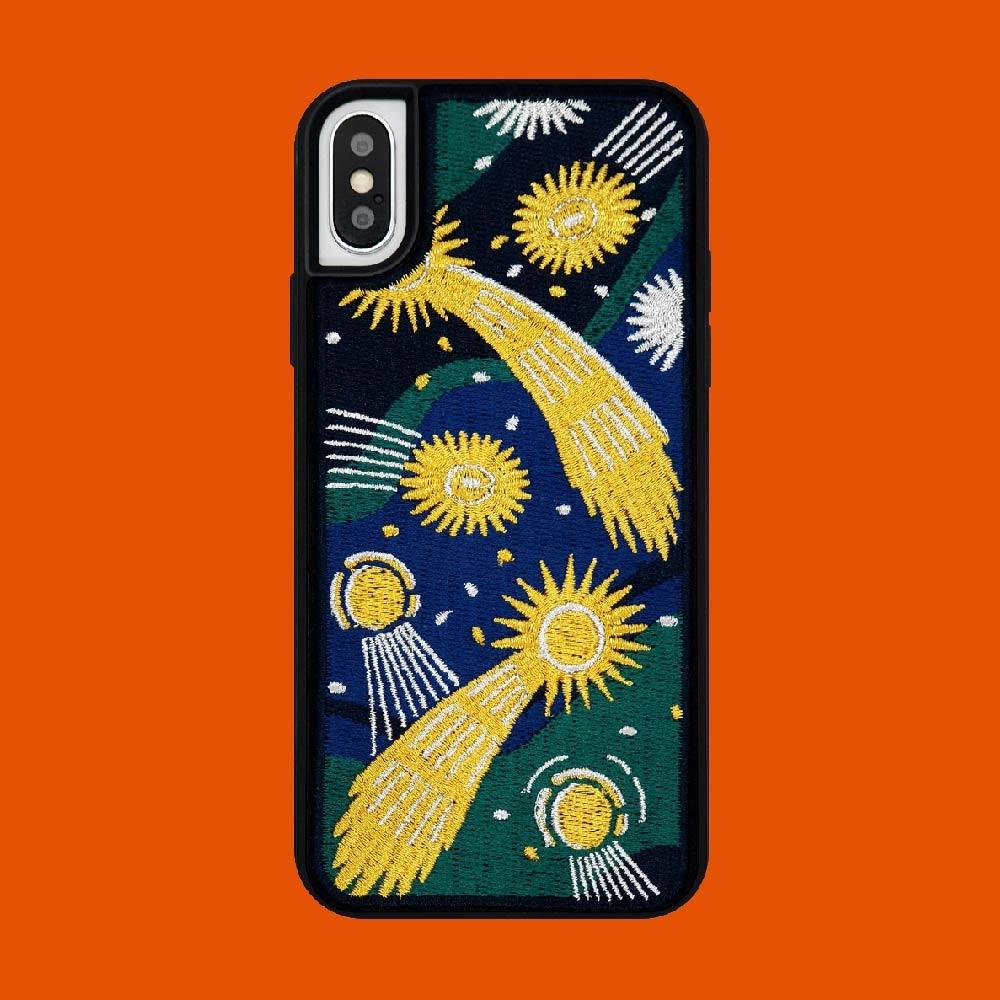 《週末限定タイムセール》 iPhoneケース スマホケース 刺繍 刺しゅう 20代 30代 女性 プレゼント かわいい 可愛い wigglewiggle - カバー 人気 携帯 刺しゅうケース 最新号掲載アイテム Case Embroidery 韓国 iphone Star Falling