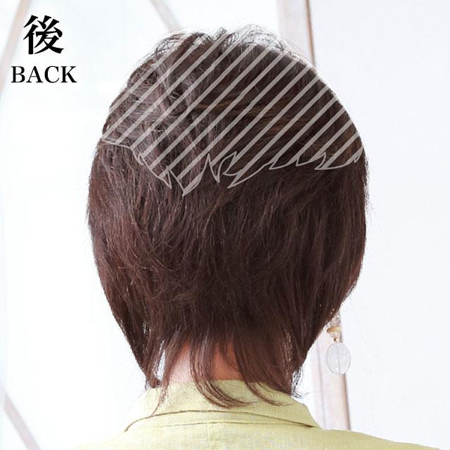ヘアピース人毛ミックス耐熱 総手植えカバーピース ウイッグ C-100 薄毛隠し 白髪隠し