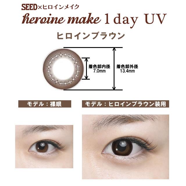 [彩色隱形眼鏡] SEED Heroine make 1DAY UV HEROINE BROWN(使用週期:每日 | 計價單位:10片/盒 * 36盒)