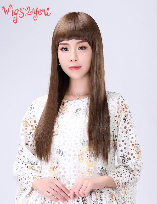 【Wigs2you】パッツン前髪 ウィッグ 簡単着用 耐熱 日本製高級ファイバー使用 W-1024 フルウィッグ さらさらロング 最高級 ナチュラル かつら 小顔 女装 結婚式 簡単装着