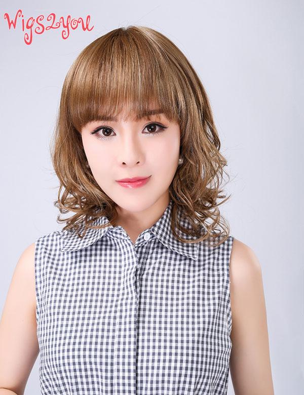 【Wigs2you】ウィッグ 巻き髪 エアリーカール 簡単装着 日本製高級ファイバー使用 W-160 フルウィッグ ミディアム 最高級 ナチュラル かつら 普段使い 女装 ミュージカル