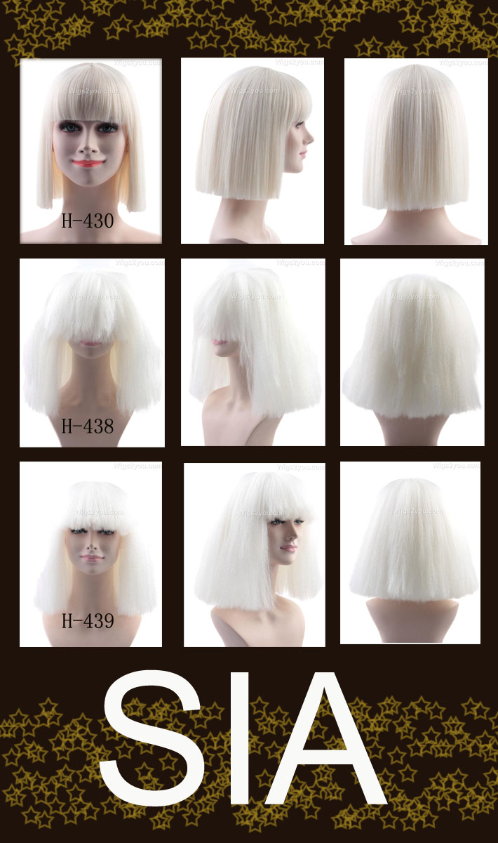 Wigs2you  SIA   Shiite   chandeliers   wig   cosplay   singer   Bob   black    black and white   two-tone   costume   Halloween   costume   cheap   made  ... 755e636948f3