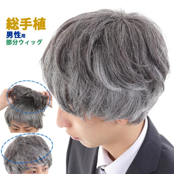 ヘアピース 白髪 しらが 送料無料 男性用 メンズ 部分ウィッグ ストレート KM1