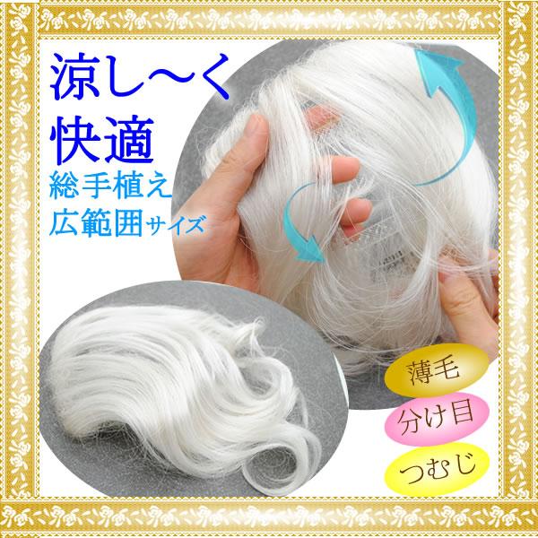 ウィッグ かつら しらが 白髪 部分ウィッグ トップ ヘア ポイントウィッグ 増毛 総手植え 人気
