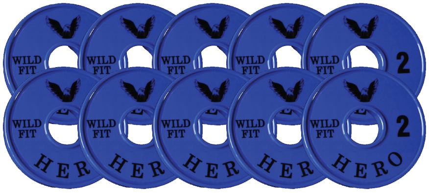 【オリジナルブランド】HEROメタルプレート2kg[10枚組][WILD FIT ワイルドフィット] ダンベル バーベル オリンピック 筋トレ トレーニング 腹筋 上腕筋 大胸筋 ベンチプレス