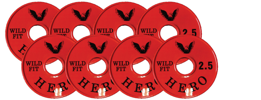 【オリジナルブランド】HEROメタルプレート2.5kg[8枚組][WILD FIT ワイルドフィット] ダンベル バーベル オリンピック 筋トレ トレーニング 腹筋 上腕筋 大胸筋 ベンチプレス