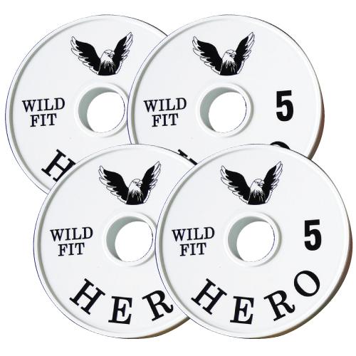 【オリジナルブランド】HEROメタルプレート5kg[4枚組][WILD FIT ワイルドフィット] ダンベル バーベル オリンピック 筋トレ トレーニング 腹筋 上腕筋 大胸筋 ベンチプレス