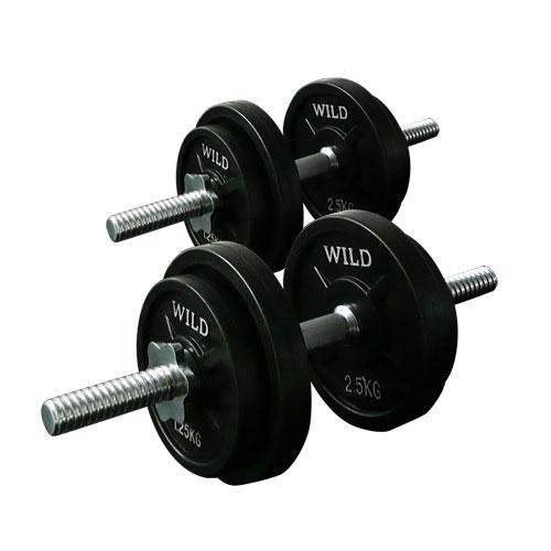 黒ラバーダンベルセット20kg[WILD FIT ワイルドフィット] 送料無料 筋トレ ダンベル ウエイト トレーニング 鉄アレイ