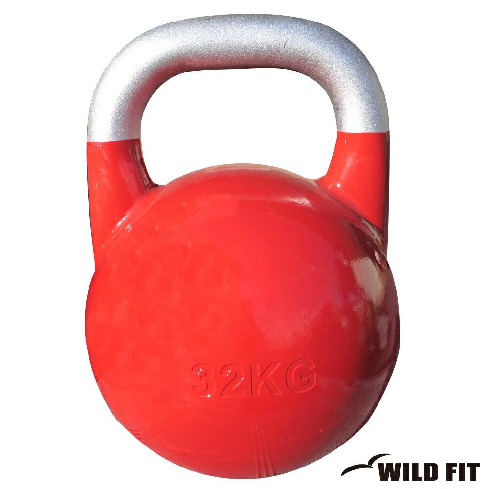 JKA公認ケトルベル 32kg レッド[WILD FIT ワイルドフィット] 送料無料 ウエイト トレーニング ダンベル 筋トレ 握力