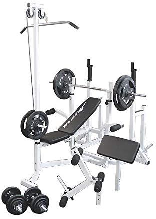 マルチトレーニングジムセット アイアン140kg[WILD FIT ワイルドフィット] 送料無料 バーベル ベンチプレス トレーニング ウエイト プレート スクワット 大胸筋 腹筋