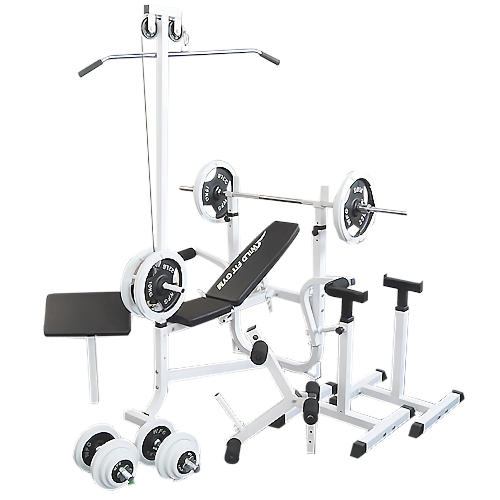 マルチセーフティージムセット 白ラバー100kg[WILD FIT ワイルドフィット] 送料無料 バーベル ベンチプレス トレーニング器具 スクワット 大胸筋 腹筋