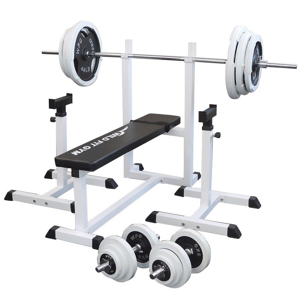 [スクワットパッド付]トレーニングジムセット 白ラバー140kg[WILD FIT ワイルドフィット] 送料無料 バーベル ダンベル ベンチプレス トレーニング器具 フィットネス 大胸筋 腹筋 上腕筋