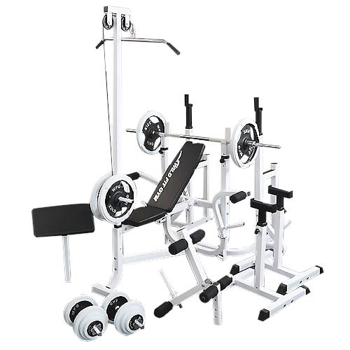 マルチフルセット 白ラバ-100kg[WILD FIT ワイルドフィット] 送料無料 バーベル ベンチプレス トレーニング ウエイト プレート スクワット 大胸筋 腹筋