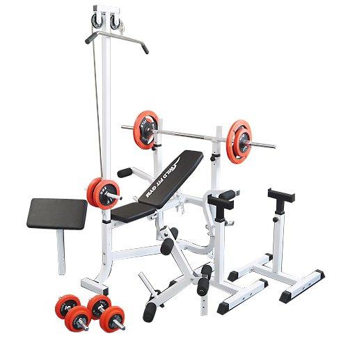 マルチセーフティージムセット 赤ラバー70kg[WILD FIT ワイルドフィット] 送料無料 バーベル ベンチプレス トレーニング器具 スクワット 大胸筋 腹筋