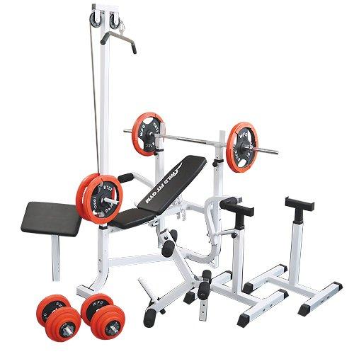 マルチセーフティージムセット 赤ラバー100kg[WILD FIT ワイルドフィット] 送料無料 バーベル ベンチプレス トレーニング器具 スクワット 大胸筋 腹筋